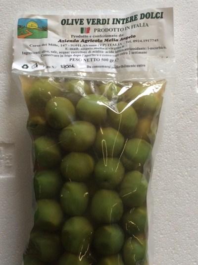 Tender green olives in brine