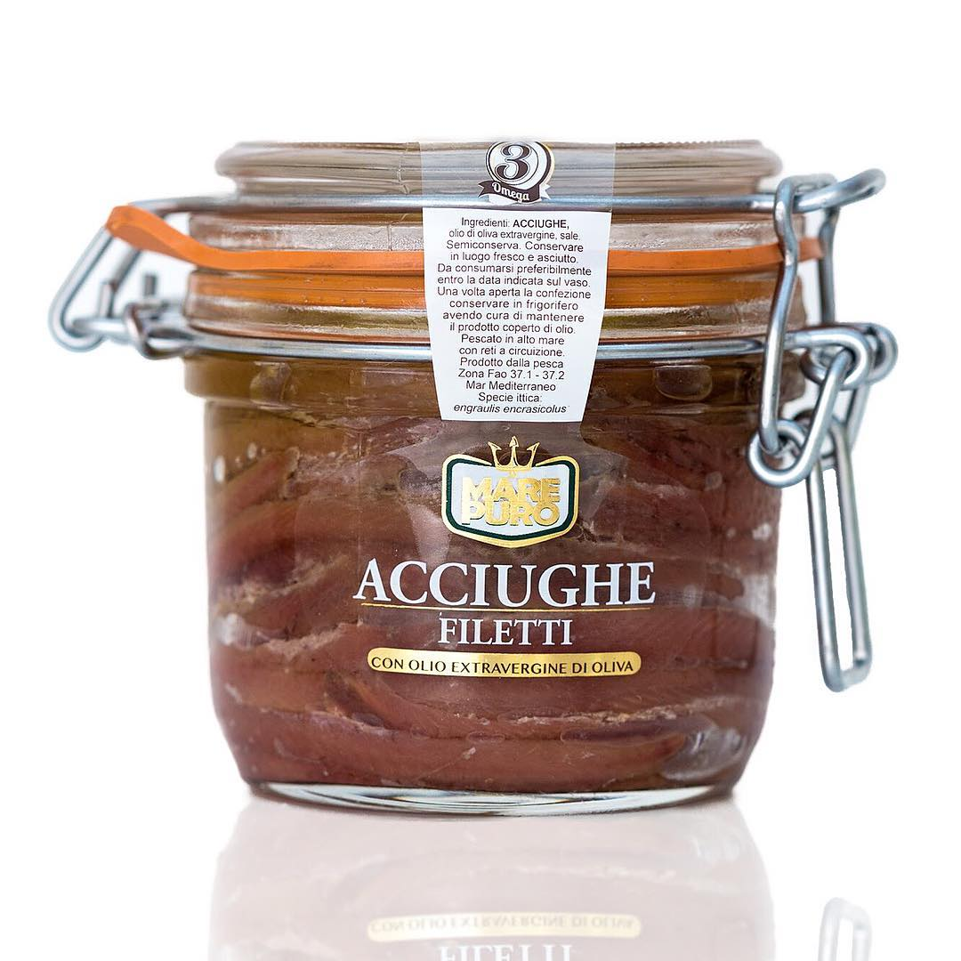 Extra anchovies fillets in oil Extra virgin olive oil - Mare Puro